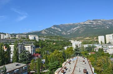 City landscape with mountain views. Yalta, Crimea