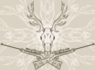 Deer skull and crossed rifles, graphic style