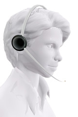 Woman with headphones.  Customer service concept