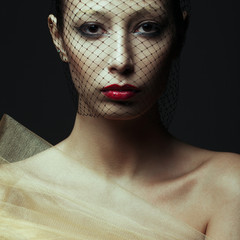 Art fashion concept. Beautiful brunette in veil