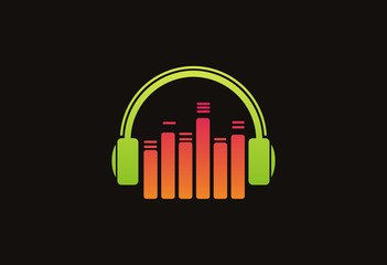 Headphone music logo vector