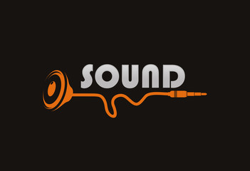 Speaker and cable logo vector