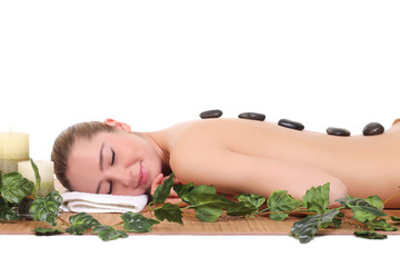 beautiful spa woman lying