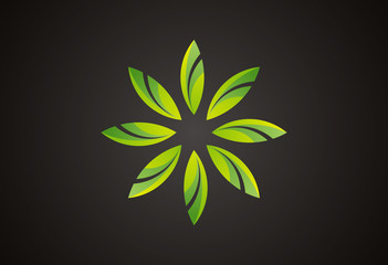 Star flower ecology logo vector