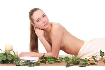 healthy girl relaxing in spa