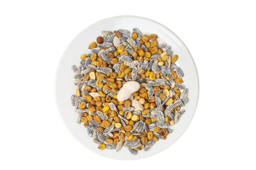 Sunflower seeds and corn grains in plate