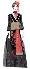 Fashion model in geisha style dress