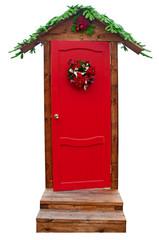 Christmas door isolated on white background