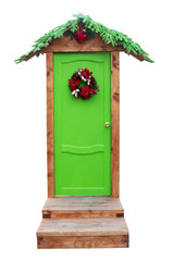 Green Christmas door