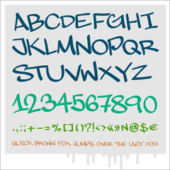 Handwritten graffiti alphabet, numbers, elements