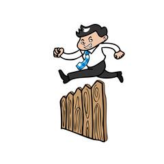Businessman jump over fence