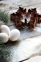 Baking Christmas cookies. Christmas tree and snowflake