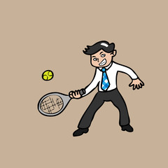 Businessman paying tennis