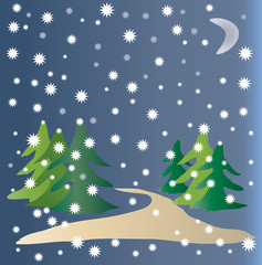Winter forest. Vector Illustration.