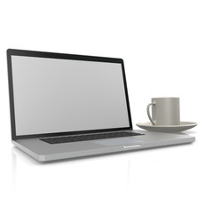 Laptop with cup