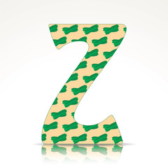 The letter Z of the alphabet made of Zucchini