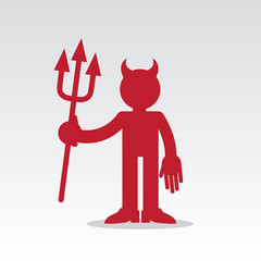 Red devil figure with horns and pitchfork