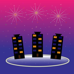 Bright fireworks over a night city. Vector illustration.