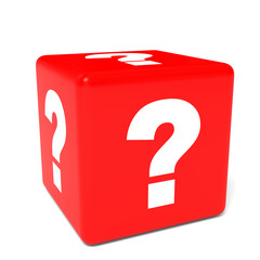 Cube with question sign.