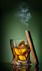 Cigar on green