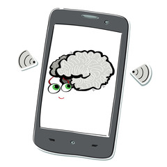 Stylized mobile phone with radars and smart brain with big eyes