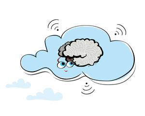 Cute cloud with a smart brain with big eyes and radar symbols