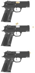 9mm pistols with bullets in progression in silhouette