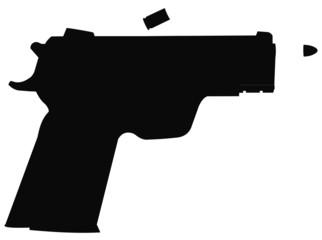 9mm pistol in silhouette