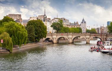Pont Neuf, the oldest bridge across Seine in Paris, France