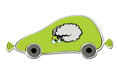 Stylized car with radars and cute smart brain, side view