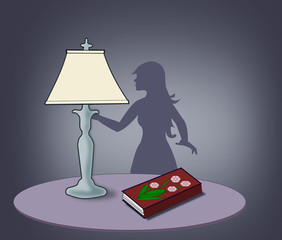 Lamp, Book and Woman Silhouette