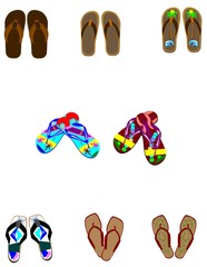 variety of sandals in patterns
