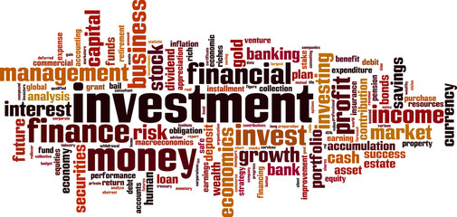 Investment word cloud concept. Vector illustration