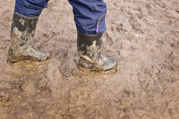 Muddy rubber boots