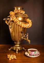 traditional Russian tea. Samovar, bagels and dried apples