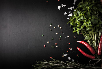Herbs and spices. basil, red pepper, salt and rosemary on a blac