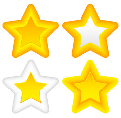 Bright stars with rounded corners, thick outlines