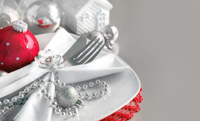 Red and silver Christmas ornaments border