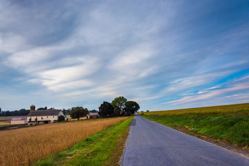 Farm along a country road in rural Lancaster County, Pennsylvani