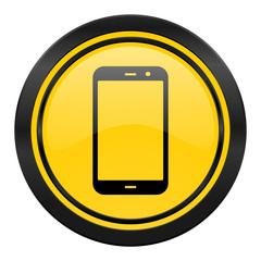 smartphone icon, yellow logo, phone sign