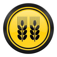 agricultural icon, yellow logo,