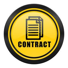 contract icon, yellow logo,