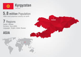 Kyrgyzstan world map with a pixel diamond texture.