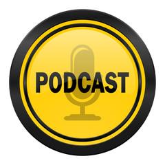 podcast icon, yellow logo,