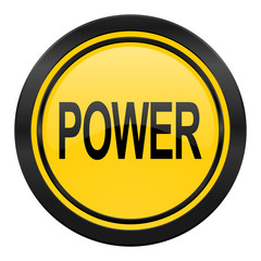 power icon, yellow logo,