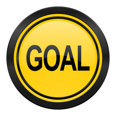 goal icon, yellow logo,