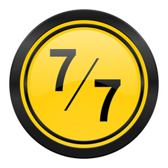 7 per 7 icon, yellow logo,