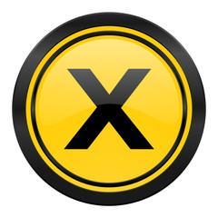 cancel icon, yellow logo,