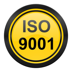 iso 9001 icon, yellow logo,
