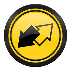 exchange icon, yellow logo,